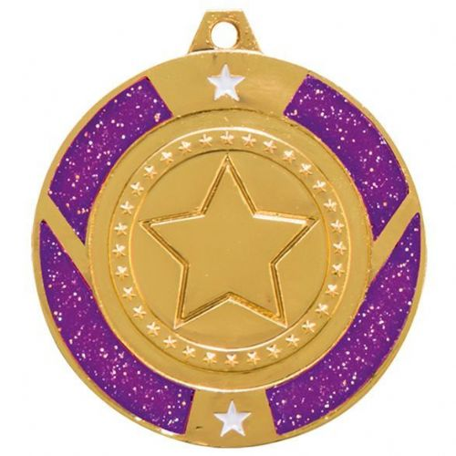Glitter Star Medal Gold & Purple 50mm